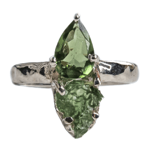 Moldavite Silver Plated Ring