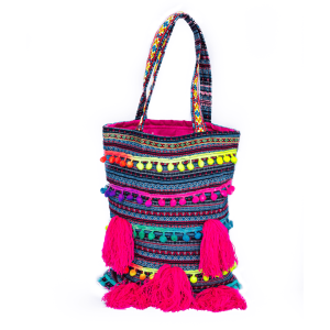 Tote Bag Colorful Pompom