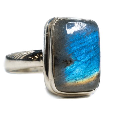 Rectangle Labradorite Ring