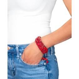 Hand-Woven Coral Tie Around Bracelet