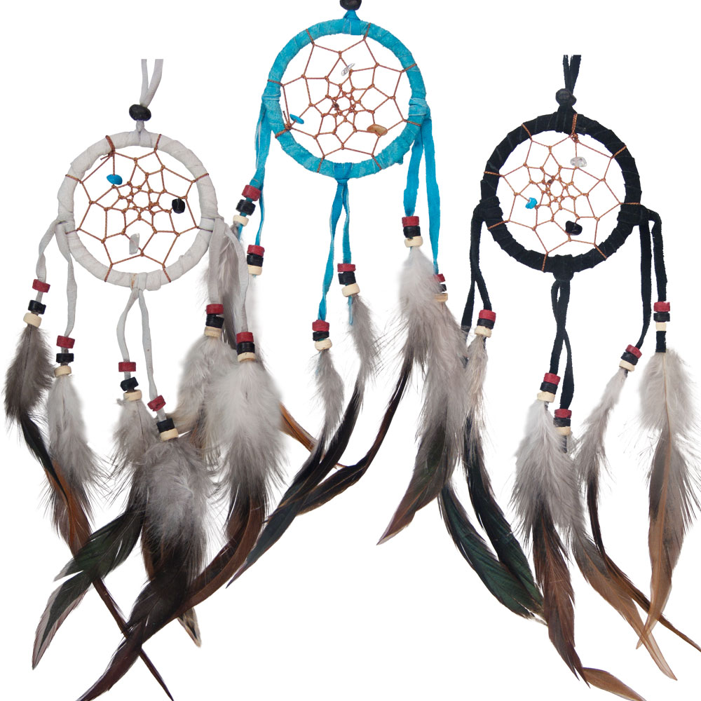 Small Dreamcatchers with Embroidered Stones and Feathers