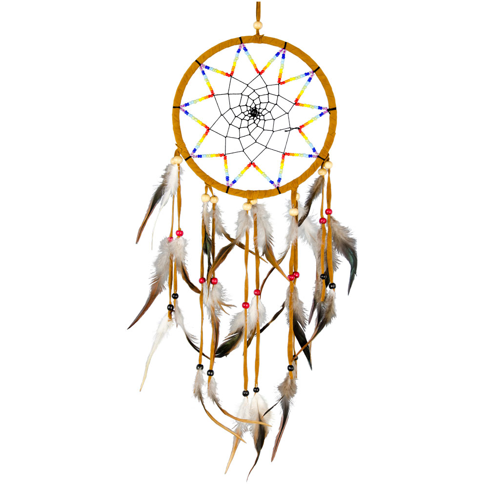 Brown Dreamcatcher with Rainbow Embroidery and Feathers
