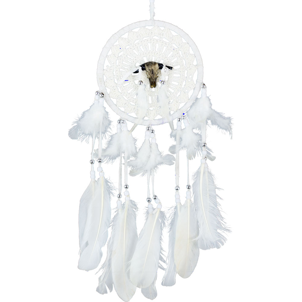 White Feathered Dreamcatcher with a Bull Skull Totem