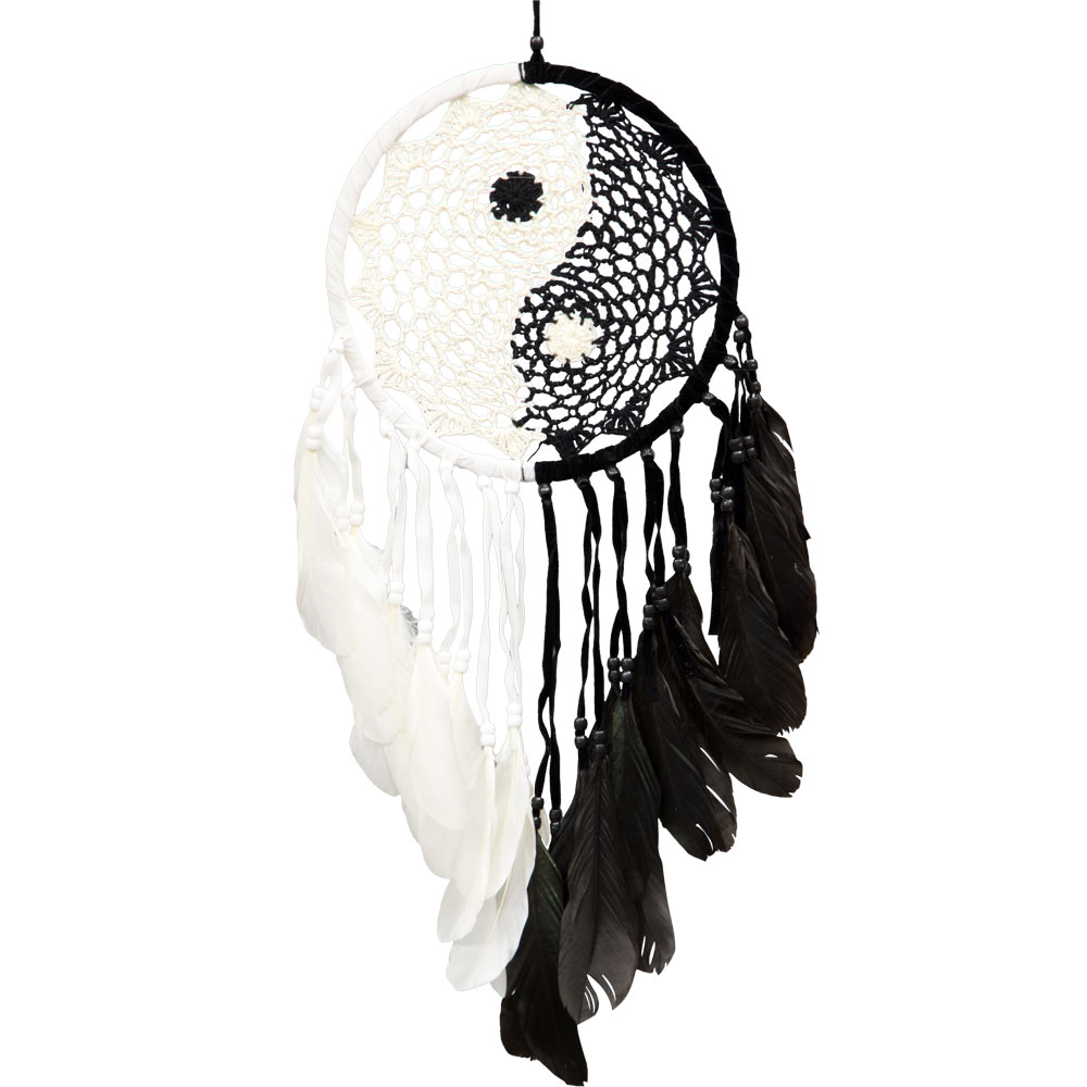 Ying and Yang Macrame Feathered Dreamcatcher