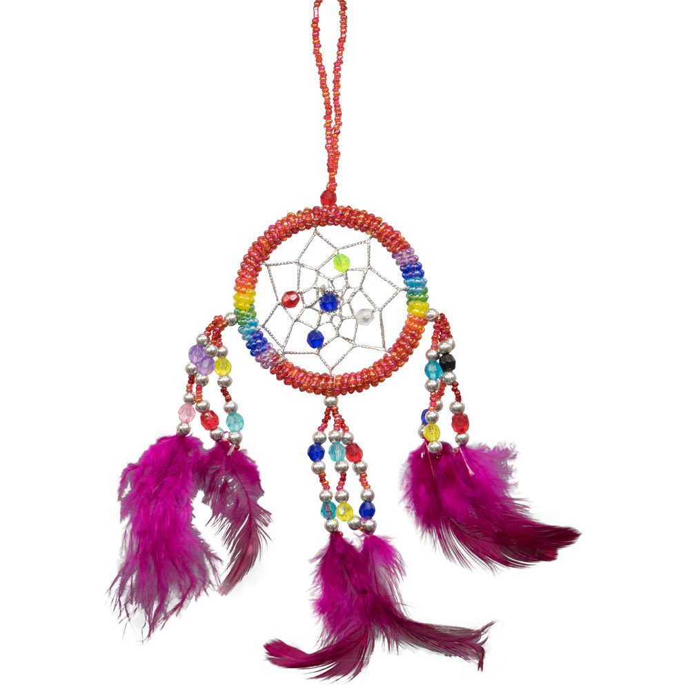 Hand Embroidered Red Dreamcatcher with Beads