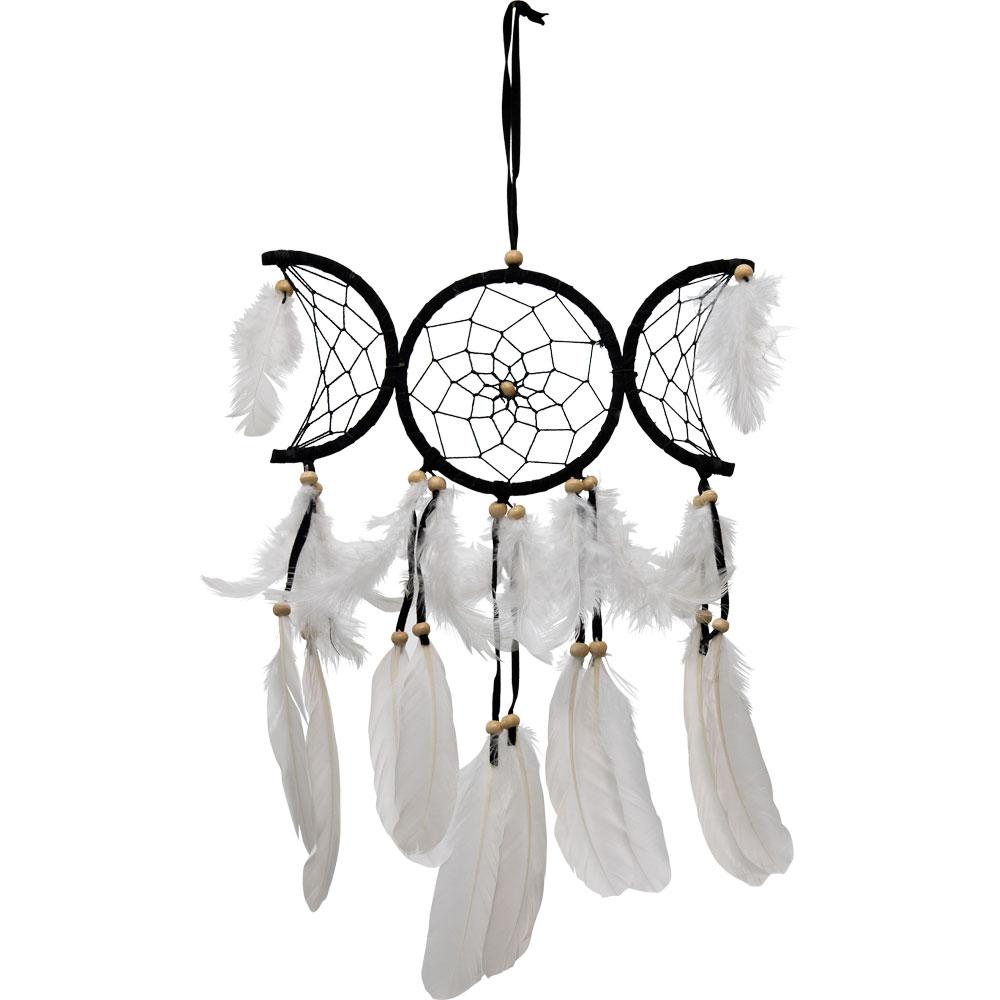 Black Triple Moon Feathered Dreamcatcher