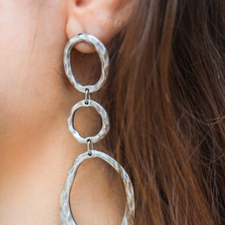 Silver Circled Hammered Linked Earrings