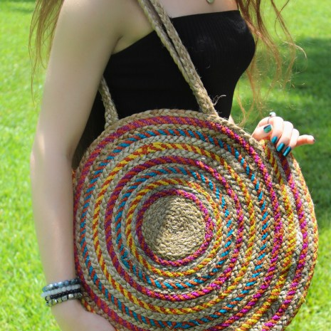 Hand Embroidered Multicolor Round Bag Tote