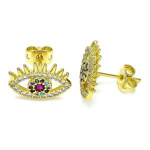 Gold Earrings with Red Crystal Evil Eye