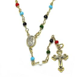 Guadalupe and Crucifix Design with Multicolor Beads Rosary in Gold Layered