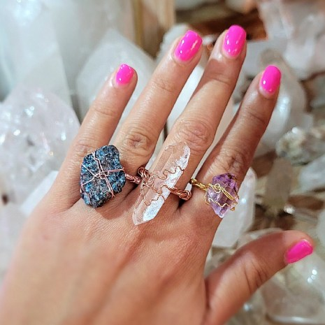 Wire Wrapped Gemstone Rings