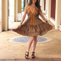 Women Beach Summer Halter Midi Dresses Free Size - SHORT BROWN 10203