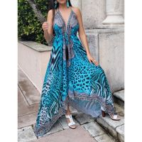 Women Elegant Halter Long Maxi Dresses Free Size - HAWAII Blue Dress 649