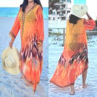 Women Elegant Halter Long Maxi Dresses/Cover Up Free Size - ORANGE Duster 630