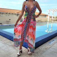 Women Beach Evening Summer Halter Maxi Dresses Free Size - SD-1532