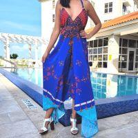 Women Beach Evening Summer Halter Maxi Dresses Free Size - SD-1042