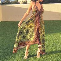 Women Beach Evening Summer Halter Maxi Dresses Free Size - SD-1543