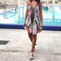 Women Beach Evening Summer Halter Midi Dresses Free Size - SD-2529