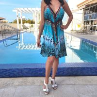 Women Beach Evening Summer Halter Midi Dresses Free Size - SD-2531