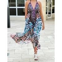 Women Beach Evening Summer Halter Maxi Dresses Free Size - SD-2553