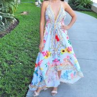 Women Elegant Halter Long Maxi Dresses Free Size - HAWAII White Dress 646