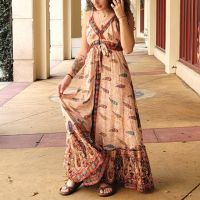 Boho Beach Summer Long Fit and Flare Maxi Flowy Dresses - 10266