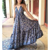 Women Beach Summer Halter Long Dresses Free Size - LONG BLUE 10203