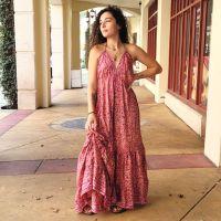 Women Beach Summer Halter Long Dresses Free Size - LONG PINK 10203