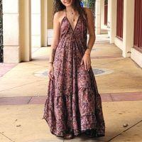 Women Beach Summer Halter Long Dresses Free Size - LONG RED 10203