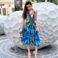 Women Beach Evening Summer Halter Mini Dresses Free Size - 10271 SHORT