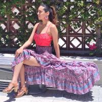 Women Beach Summer Long Flamingo Smock Skirt - PINK ON GREY