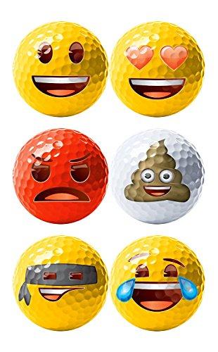 Emoji Erwachsene 6er Set Neuartige Fun Golfbälle, Multicoloured, 6 - 3