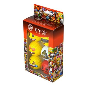 Emoji Erwachsene 6er Set Neuartige Fun Golfbälle, Multicoloured, 6 - 4