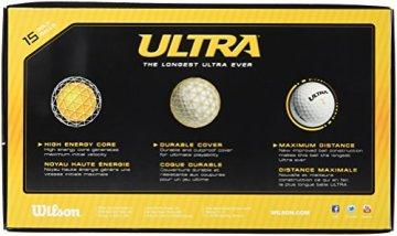 Wilson, Harte 2-teilige Herren Golfbälle für weite Distanzen, 15er-Pack, Einsteiger und Fortgeschrittene, Hohe Kompression, Ionomer, Ultra Lue, Gelb, WGWR60600 - 3