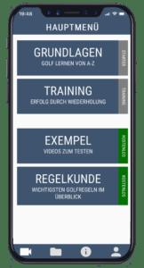 Golf Instructor - Hauptmenü - App