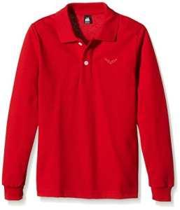 Trigema – Trigema Mädchen Langarm Polo-Shirt – T-shirt à manches longues Mixte adulte, rouge (kirsch 036), 128 (8 ans)