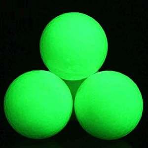 Lennystone Balles de nuit lumineuses de golf longue durée réutilisable Bright Night Glow balle de golf rechargeable par la lumière du soleil lampe de poche (lampe de poche uv inclus) facile à Golf 3, (3 pcs)