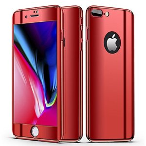 Coque iPhone 8 Plus Miroir, Coque iPhone 8 Plus 360 Degres Plastique, SainCat Ultra Slim Full Protection 360 Coque Cover pour iPhone 8 Plus, Coque Miroir Resistant 360 Degres Avant et Arriere Full Body Ultra Resistante Full Cover Anti-Scratch Ultra Fine Cover Coque Caoutchouc Hard PC Case, Coque Rigide Ultra Mince Shockproof Ultra Thin Coque Housse Bumper Cover pour iPhone 8 Plus 5.5-Rouge