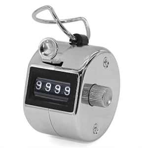 4 chiffres main Tally Counter main Held Palm mecanique Clicker compteur tour manuel Clickers avec doigt metal bague cerceau Holder (Slivoide)