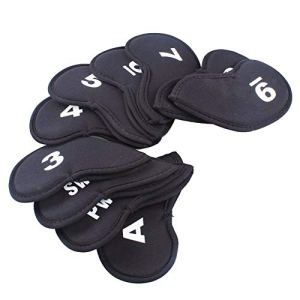 Trifycore 10 PCS Portable Golf Head Covers Club Iron Putter Head Protector Lightweight Neoprene Headcovers Set Black, Golf Head Covers