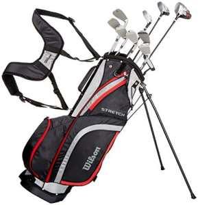 Wilson WGG157550 Ensemble Complet pour Débutant, 10 Clubs de Golf avec Sac Trépied, pour Homme (Main Gauche), Stretch XL, Noir/Gris/Rouge