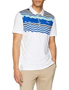 Puma Road Map Polo Homme, Bright White-Irish Green, m