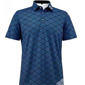 Pgm Golf Hommes Été Anti-Sueur Formation T-Shirt Coton Respirant À Manches Courtes Sportswear Mâle À Séchage Rapide Tops AA11829,Blue,M