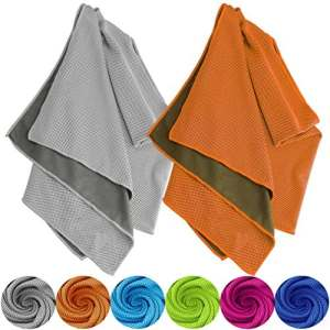 Tobfit Serviette de Refroidissement, Instantané Soulagement de Refroidissement dans Un Environnement Chaud Serviettes de Glace (03 Gris & Orange, 40 X 12 inch)