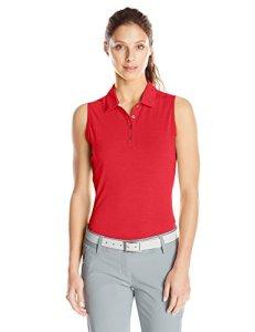 adidas Golf Women's Essentials Heather Sleeveless Polo Shirt, Power Red, X-Small