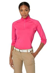 Callaway Femme Refroidissement Solide Mock Manches Longues de Golf sur Le Dessus, Femme, Cooling Solid Mock Long Sleeve Golf Top, Pink Yarrow, X-Small