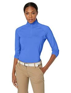Callaway Women's Cooling Long Sleeve Mock Golf Polo, Dazzling Blue, Small