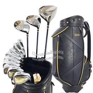 HDPP Club De Golf Hommes Clubs De GolfEnsemble DeClubsComplet Fers À Bois Golf Driver Fût De Golfeur en Acier Ou en Acier Pas De SacClubs Golf Full Set