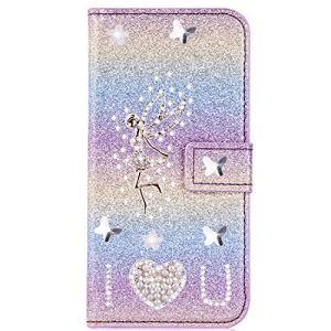 Miagon pour Samsung Galaxy A20 Portefeuille Coque,3D Glitter PU étui en Cuir Diamant Fermoir Magnétique Stand Strass Housse,Ange Arc-en-ciel 2