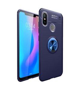 Coque pour Xiaomi Mi 6X/ Mi A2 Housses étuis 2 en 1 Antidérapant TPU Silicone Protecteur Souple Ultra-mince Étui Arrière en PC Coque avec Magnétique Métal Anneau Boucle- Bleu et Boucle Bleu